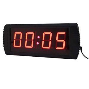 Compte à rebours intervallomètre 3 Pouces Intérieur Gym Training Timer à Distance l'intervallomètre avec télécommande Grand Compte à rebours (Couleur: Noir, Taille: 36X16X4CM) Peng