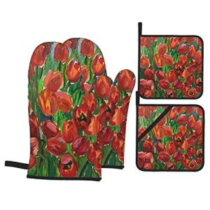 Ensemble de Gants et de maniques résistants à la Chaleur Dessin de la Flore de Fleurs de Jardin ensoleillé Lumineux pour Cuisiner,Micro-Ondes,Griller,Cuire