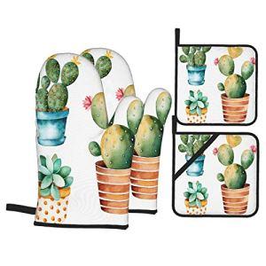 Ensemble de Gants et de maniques résistants à la Chaleur Pot Succulent de Plante de Cactus Aquarelle Peinte à la Main pour Cuisiner,Micro-Ondes,Griller,Cuire