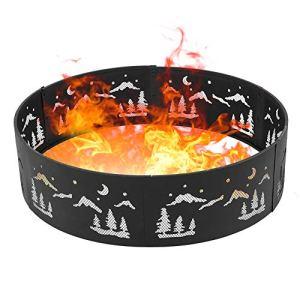 Estink Anneau de feu de camp portable en métal pour feu de camp, poêle à bois, foyer de jardin, cuisinière pour camping, jardin, terrasse, 90 x 24 cm
