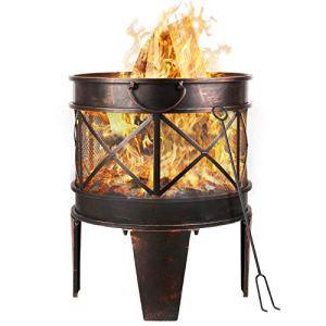 Femor Brasero de Jardin Ø 42 cm avec poignées, Brasier Extérieur, Barbecue à Charbon de Bois, Multifonction brasero barbecue grill foyer, avec fourche, pour Camping, Feu de Camp, Terrasse, Jardin