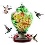Frolada Mangeoire en verre pour colibri à l'extérieur avec crochets, crochet en forme de S pour suspendre des fleurs avec perchoir pour décoration d'intérieur Vert