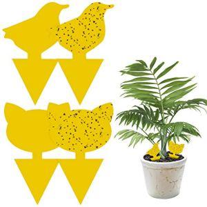 Fullsexy 60Pcs Plug-in piège à Mouches Motif Animal Plaques Jaunes idéales pour Les Plantes en Pot Contre Les moustiques pucerons, Les Mouches des Feuilles, Balcon, Jardin, intérieur
