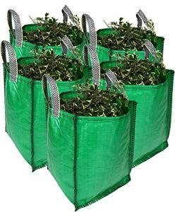 Garden Waste Bags Sacs à déchets verts robustes, 120 litres, 1 à 5 sacs, qualité supérieure, tissu industriel et poignées (5 sacs)