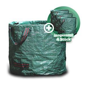 GARSA Lot de 4 sacs à déchets de jardin de 60 l – Sac de jardin pratique de qualité supérieure – Sac à feuilles auto-déployant pour déchets de jardin avec quatre poignées indéchirables