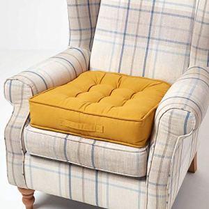 HOMESCAPES Coussin d'assise rehausseur en Coton carré 50 x 50 cm – Jaune Moutarde