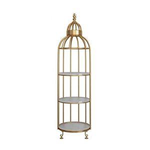 hsj Jardinière 3 Couches de Jardin en métal Usine Support Stable Forme en Acier de Base Bird Cage, Parfait for la Famille, Jardin, Terrasse Frimer (Color : Golden, Size : 32 * 32 * 136cm)