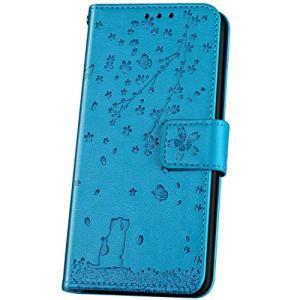 JAWSEU Compatible avec Xiaomi Mi 9 Se Coque Portefeuille Cuir à Rabat Étui Housse Premium PU Magnétique Élégant Beau Chat Fleur de Cerisier Slim Leather Flip Wallet Case Etui,Bleu