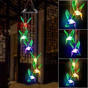 LED Solaire Carillon éolien Colibris Intérieure et Extérieure, Changement de Couleur LED Carillon de Vent Solaire, étanche Carillon Mobile pour Décoration de Jardin/Fête, Patio, Terrasse Décoration