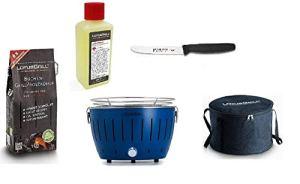 LotusGrill Kit de démarrage 1 barbecue Bleu profond, 1 charbon de bois de hêtre 1 kg, 1 pâte de combustion 200 ml, 1 couteau polyvalent, 1 sac de transport – Le barbecue à charbon de bois