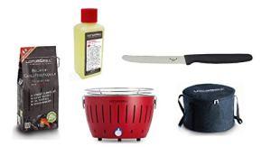 LotusGrill Small Kit de démarrage Compact pour Barbecue au Charbon de Bois avec 1 kg de Charbon de Bois de hêtre, 200 ML de pâte Combustible, 1 Couteau Multi-usages et 1 Sac Alimentation Via USB