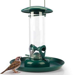 Mangeoire Oiseaux Exterieur avec Assiette XL – Distributeur Graines, Imperméable – pour Oiseaux Sauvages