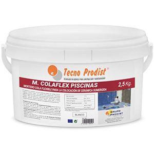 M-COLAFLEX PISCINAS par Tecno Prodist – (2,5 kg) Colle cimentaire améliorée flexible idéale pour la pose de carreaux en contact permanent avec l'eau tels que piscines, réservoirs d'eau, etc.