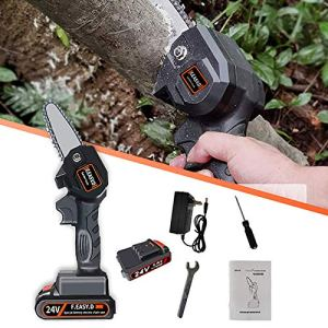 Minitronçonneuseélectrique sans filProtable4 poucesCoupe-bois à batterie Prise à une main Sécateur léger Scie à chaîne pour la coupe de bois de branche d'arbre (Noir 24V + batterie de rechange)