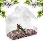 Montloxs Mangeoire pour Oiseaux Fenêtre Mangeoire pour Perroquet Boîte d'alimentation pour Oiseaux Mangeoires d'extérieur Mangeoires pour Oiseaux en Acrylique étanche Dispositif d'alimentation
