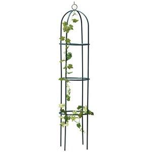 Obélisque de jardin en métal avec cadre en acier vert, résistant aux intempéries, 1,9 m