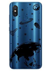 Oihxse Mode Transparent Silicone Case Compatible pour Xiaomi Mi Mix 2s Coque, Ultra Mince Souple TPU Mignon Animal Série Protection de Housse Anti-Scrach Bumper Etui -Planète
