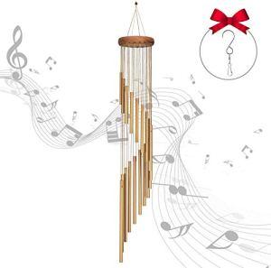 One Sight Carillons De Vent pour extérieur, Tube en Aluminium en Bois Massif Carillons éoliens avec 18 Tubes en Alliage d'aluminium et Crochet en S, pour Jardin Patio Maison décoration