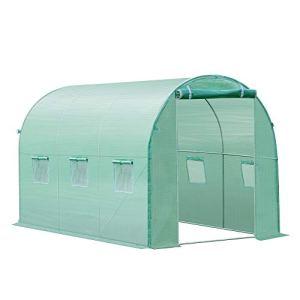 Outsunny Bâche de Rechange Serre Tunnel 6 m², bâche dim. 3L x 2l x 2H m PE Anti-UV imperméable 6 fenêtres + Porte Enroulable zippée Vert