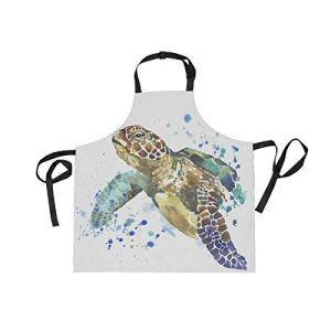 Pag Crane Tabliers d'illustration de Tortue de mer pour Femmes Tablier à bavette réglable avec Poches pour Cuisine à Domicile Chef Cuisinier Griller Barbecue Jardinage