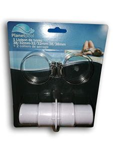 Planet Pool Adaptateur 38 mm 32 mm pour tuyaux Piscine – avec 2 Colliers metalliques – Blanc