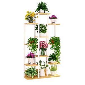 Porte-fleurs en pot rack Supports d'affichage de conception d'escalier en métal étagères de pot de fleurs 10 niveaux 144cm européen rétro maison ornements étagère de rangement jardin décoratif stand (