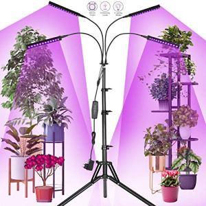 Railee Lampe de Plante, Lampe de Croissance pour Plantes, 192 LED 96W Lampe de Croissance à 4 Têtes 360° Éclairage Horticole avec Trépied 160cm/ 4 Modes de Luminosité/ 10 Niveaux Dimmables
