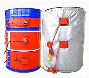 Réchauffeur de tambour à couverture complète réglable numérique/contrôle de température rotatif 53 gallons/200 L Serpentins de chauffage électrique pour Bidon d'huile (125 * 1740 mm 1kw)