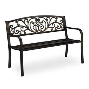Relaxdays Banc de Jardin Antique, 2 Personnes, Balcon, terrasse, Protection Anti Rouille, en métal, 81x127x56,5x63cm, Noir/doré