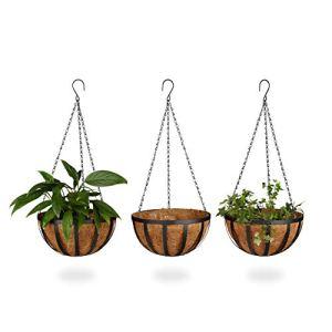 Relaxdays Pot de fleurs suspendu panier plantes coco lot de 3 30 cm diamètre 21 L avec chaîne, marron