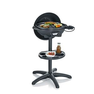 Severin Barbecue Électrique sur Pied (Diamètre 41Cm) avec Couvercle et Tablette, Noir Mat, 42X 58X 96Cm, PG 8541