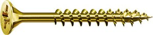 Spax–Vis universelle à tête fraisée Phillips Z 4Coupe filetage partiel acier zingué passivé Jaune A2L–0291020350305, 291020450603