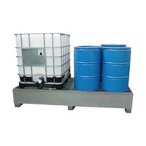 SSI Cuve de rétention en acier galvanisé pour 2 IBC 1000 litres