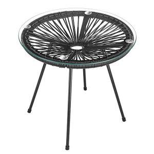 Table d'appoint Acapulco 45 x 44 cm ronde acier noir plateau en verre table de jardin balcon terrasse 4 pieds amovibles