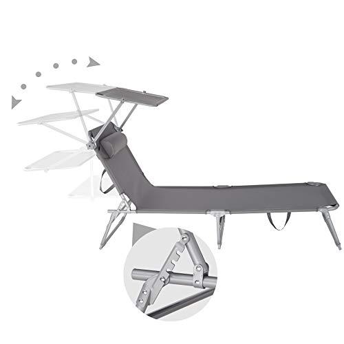 TecTake 800772 Chaise Longue de Jardin Pliable, Transat avec Pare Soleil et Appuie Tête, Charge Max: 110 kg – diverses Couleurs au Choix – (Gris   No. 403413)
