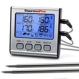 ThermoPro TP17 TP-17 Thermomètre numérique à double sonde pour cuisson de la viande avec rétroéclairage LCD avec minuterie pour fumeur, cuisine, four, barbecue Argenté