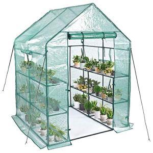 Tokin Serre d'intérieur et d'extérieur avec fenêtre et ancrages inclus, plantules ou herbes (56 x 56 x 76 cm)