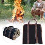Transporteur de bois de chauffage portatif de sac de journal, support de bois de chauffage, pour le camping de barbecue
