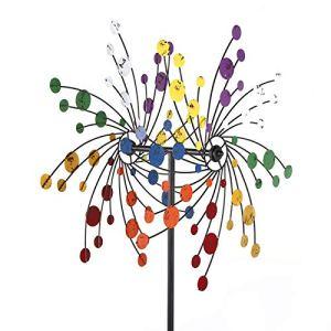 Vent fleur métal moulin à vent coloré jardin Spinner carillon à vent moulin à vent pour jardin pelouse cour décoration Windmill Wind flower Carillons éoliens en métal pour la décoration de jardin