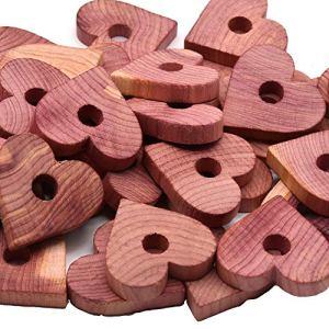 Wahdawn Blocs de cèdre naturel pour vêtements de rangement et de rangement pour tiroir désodorisant aromatique Cèdre Cèdre Balles de cintre (40 grands cœurs de cèdre)