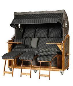 WODEGA Chaise de plage en teck Kampen Business 3 places 170 cm XXXL Chaise longue entièrement allongée Gris Noir Rayures Moka Aide à l'ajustement du panier supérieur etc.