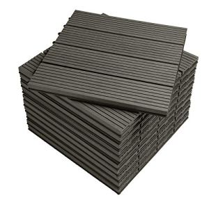 WOLTU GTF001gr WPC Carrelage de sol 30x30cm Revêtement de sol pour extérieur en composite bois-plastique Jardin terrasse système plug-in, Gris (11 pièces / 1 m²)