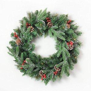 YUN HAI Aiguilles de pin Blanches collantes de 50 cm Feuilles de Noël Couronnes de Noël Fruits à Noix mélangées de Fruits Rouges