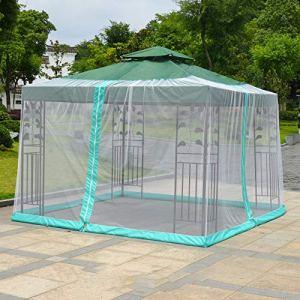 ZHXY Parapluie moustiquaire Net Cover Table Net Screen pour Jardin Outdoor Camping,Parapluie Romain Blanc,Noir,auvent,Parapluie à Bras incurvé