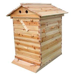 ZLYCZW Ruche de Maison avec 7 pièces Ruche d'abeille de Cadre de Flux, Cadres automatiques de Miel, Fournitures de boîte de Maison de couvée de cèdre, équipement d'élevage de Rate de nid d'abeille