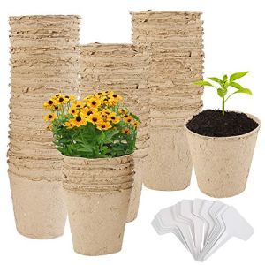 100Pcs Pots de Culture biodégradables, Pots de semis en Fibres biodégradables de 8cm avec 50 Étiquettes, Pots de Plantes pour la Germination des Plantes et la Culture des Plantes. (100pcs)