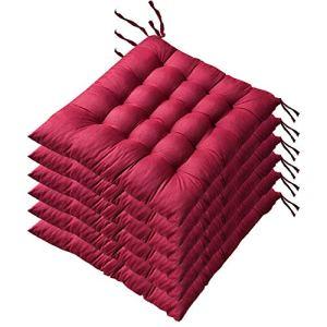 AGDLLYD Lot de 6 Coussin de Chaise et Fauteuils en Teck de Jardin Coussins de siège pour Chaises Dimensions: 40x40x5 cm. (Rouge)