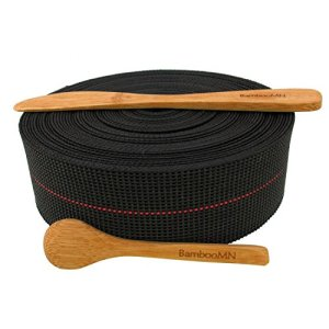 BambooMN Brand – Two-Inch Latex Elasbelt Webbing for Chair Repair – 40′ Roll – Includes Bamboo Spice Spoon and Bamboo Spreader