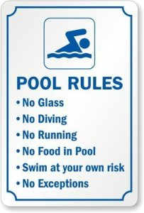 BGOJM Pool Rules No Glass No Diving No Running No Food in Pool Swim at Your Own Risk No Sign 20,3 x 30,5 cm