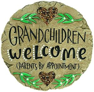 Carson Beadworks Pierre de Jardin Inscription Grandchildren Welcome Marron
